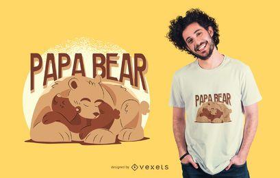 Projeto do t-shirt da ilustração do urso da papá