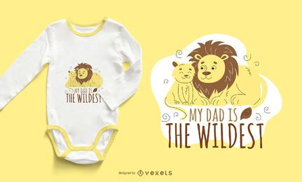 Diseño de camiseta Lion Dad Cartoon