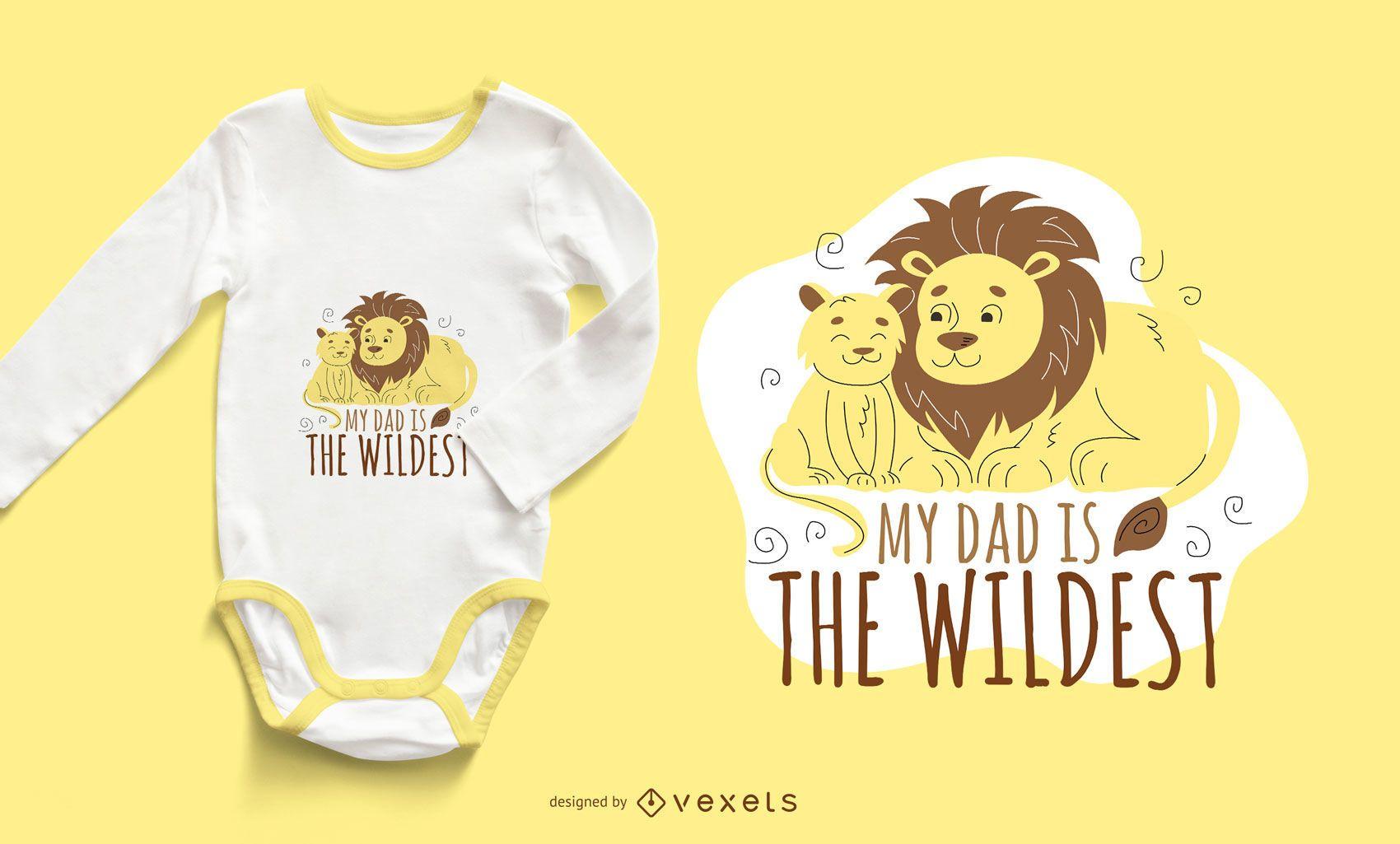 Diseño de camiseta Lion Dad Cartoon