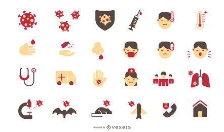 Pacote de ícones de design plano de coronavírus