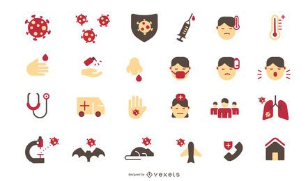 Pacote de ícones do Coronavirus Flat Design