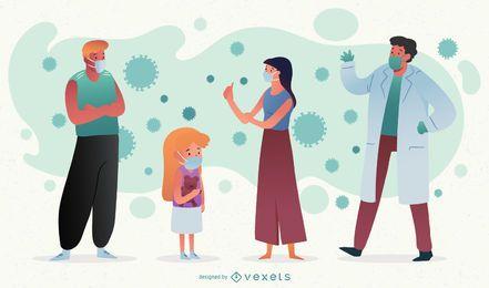 Paquete de personajes Coronavirus People