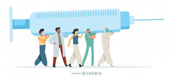 Ilustração da vacina contra o Coronavirus People