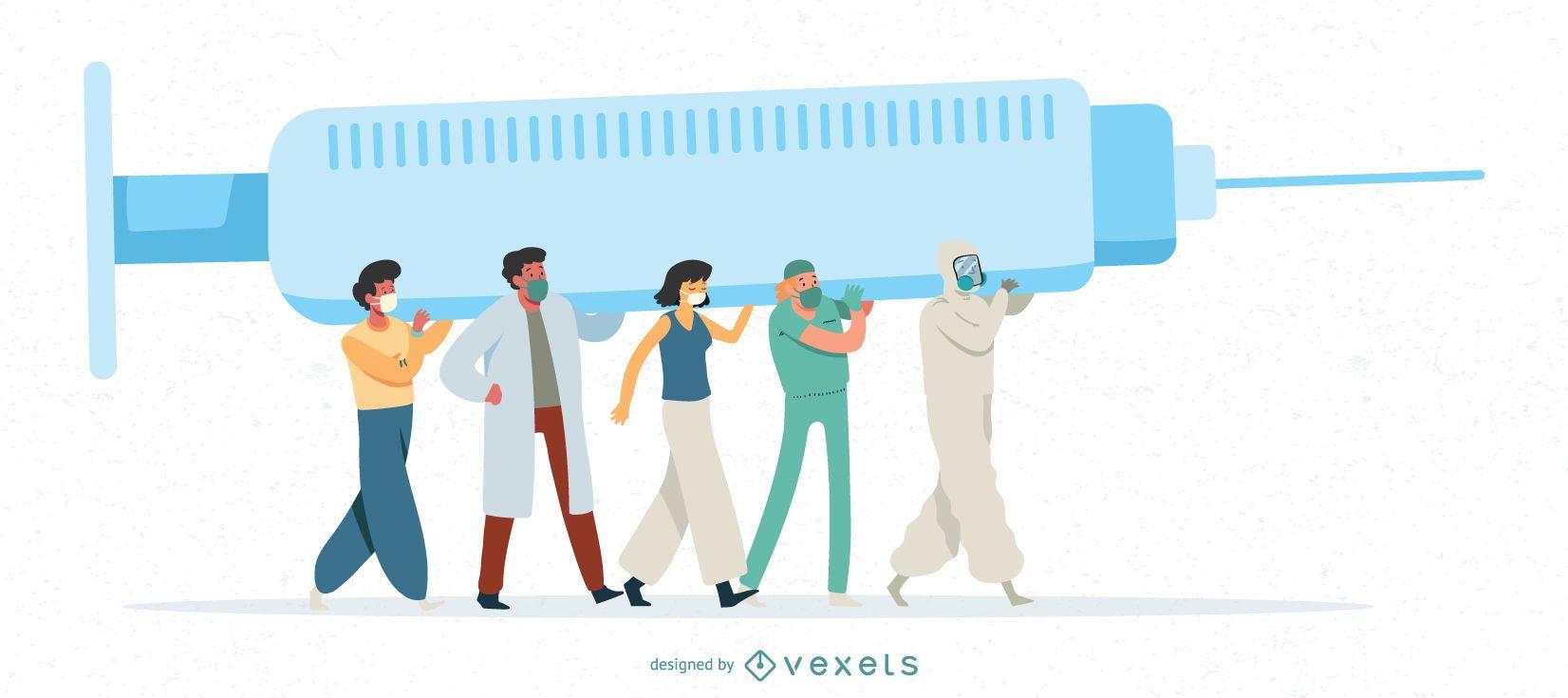 Ilustración de vacuna contra el coronavirus