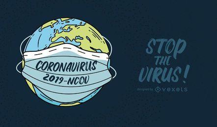 Coronavirus Planet Zitat Illustration