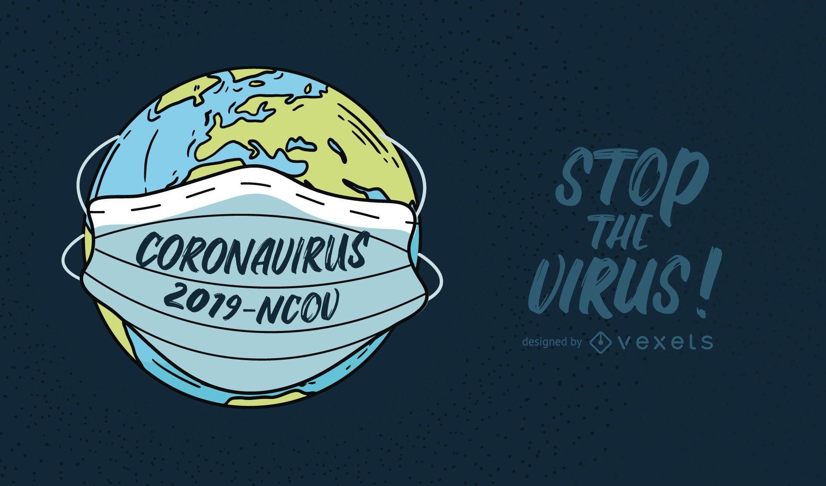 Coronavirus Planet Quote Illustration