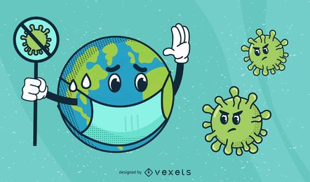 Planet Earth Coronavirus Cartoon