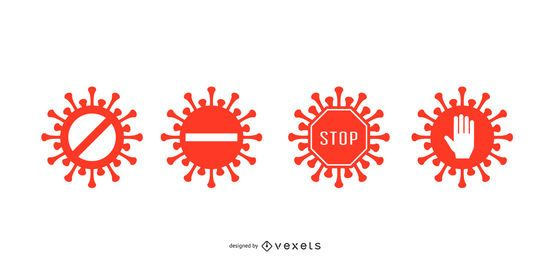 Conjunto de distintivos de parada de coronavirus