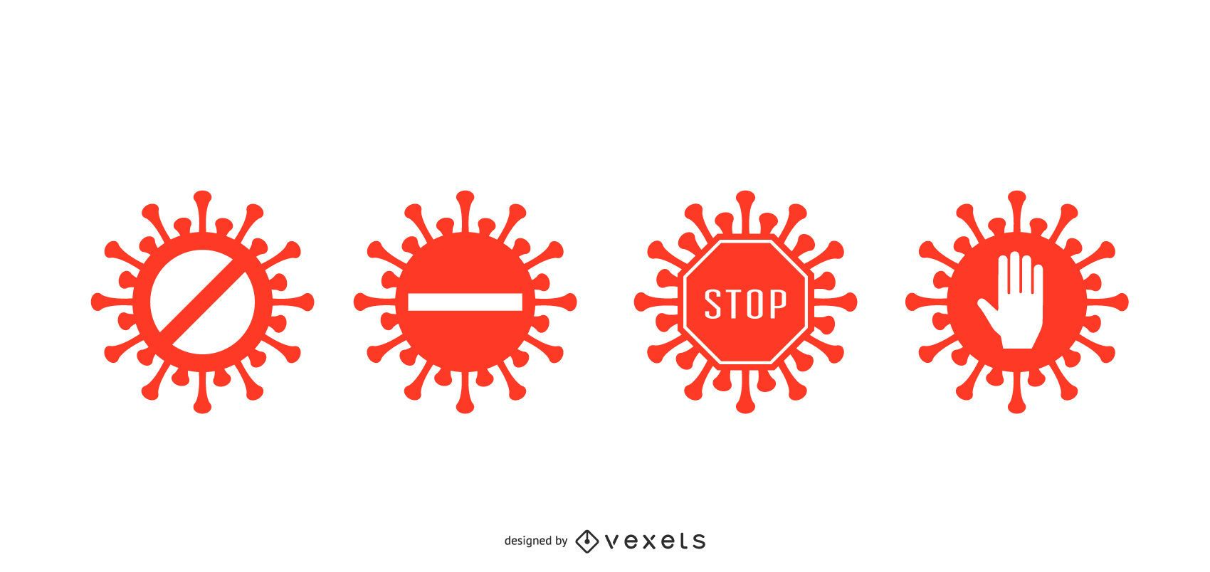 Conjunto de insignias de parada de coronavirus