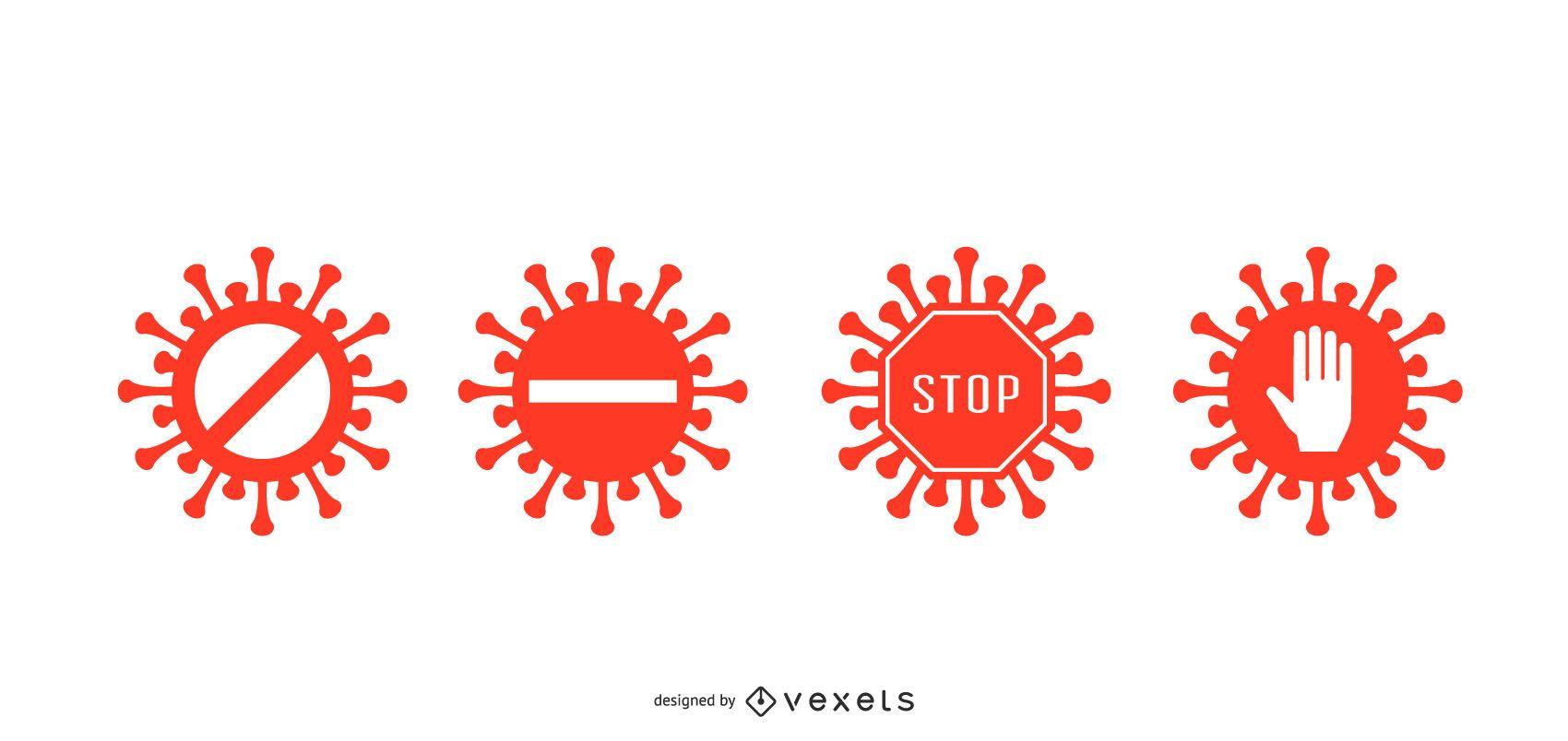 Coronavirus Stop Badge Set