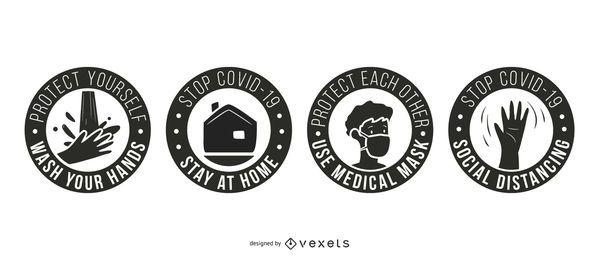 Pacote de Crachás Stay Coronavirus Stay Safe