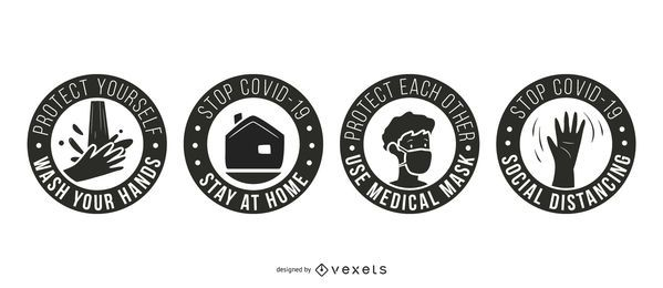 Paquete de distintivos de Coronavirus Stay Safe