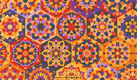 Patrón de mandala de Ramadán colorido