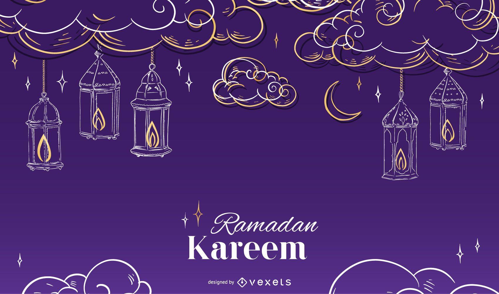 Diseño de fondo estacional de Ramadán