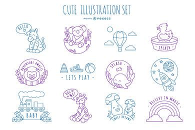 Cute Stroke Illustration Design Pack
