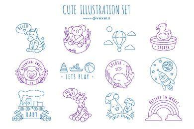 Pacote de design de ilustração de traço bonito