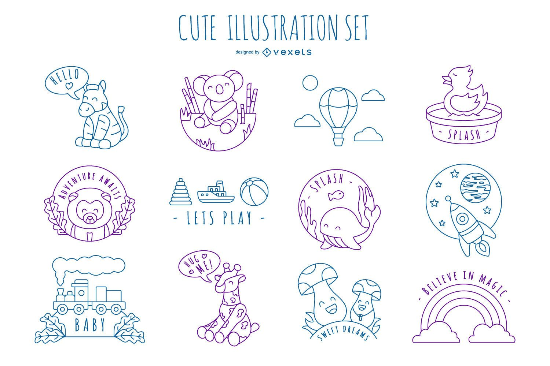 Pacote de design de ilustração de traços bonitos