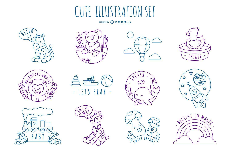 Paquete de diseño de ilustración de trazo lindo