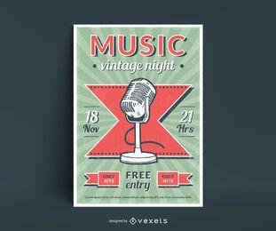 Diseño de carteles de música estilo vintage