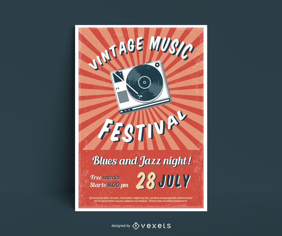 Cartel del festival de música vintage