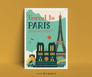 Modelo de poster vintage de paris
