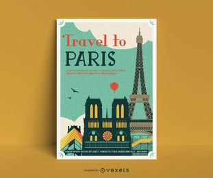 Paris vintage poster template