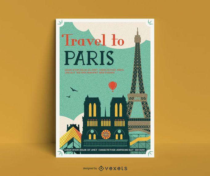 Paris vintage poster template