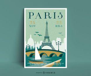 Reisen Sie zur Pariser Plakatvorlage