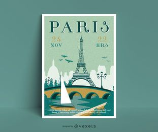 Travel to paris poster template