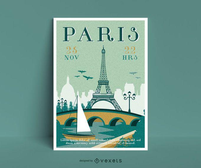 Plantilla de cartel de viaje a parís