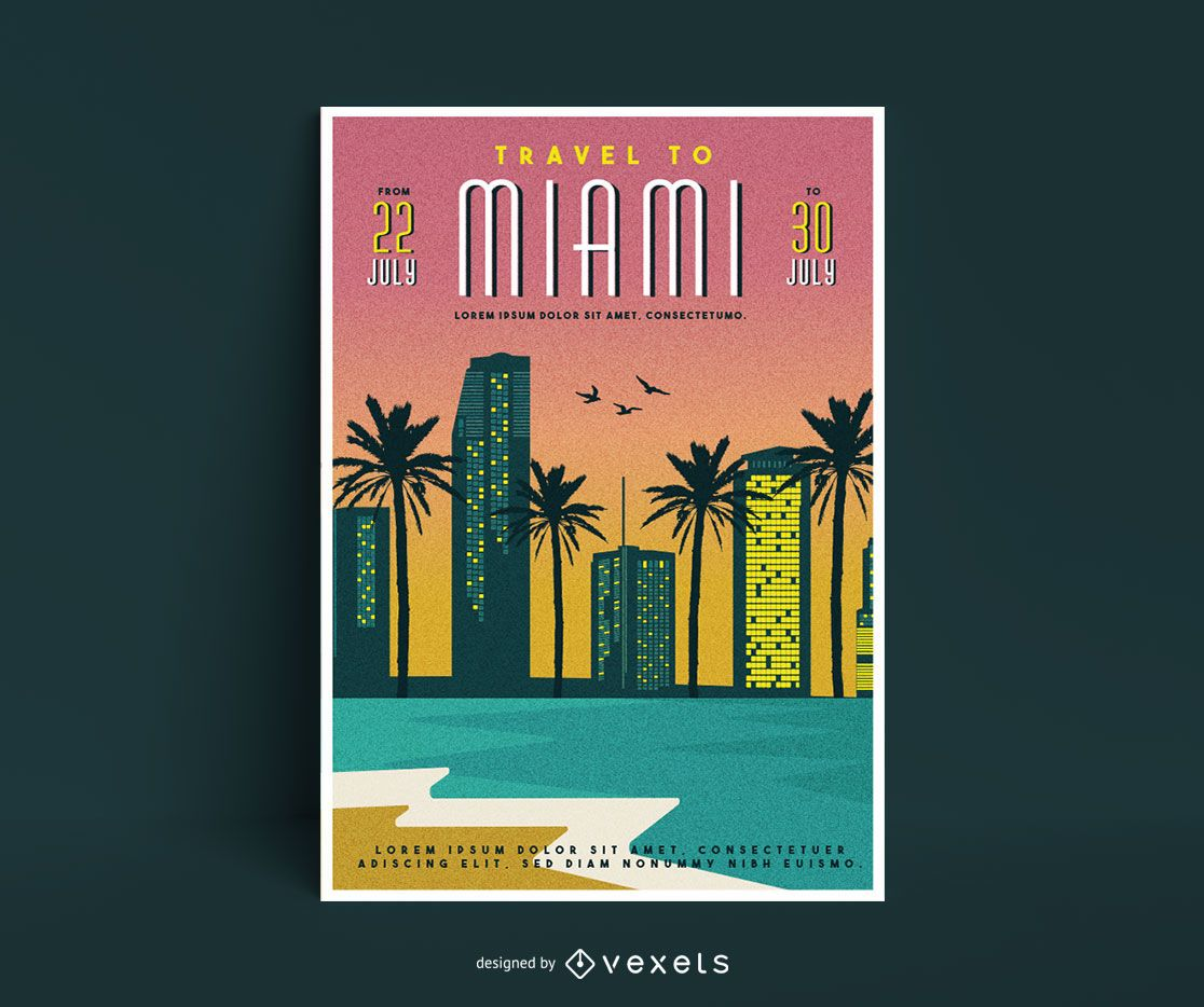 Travel to miami poster template