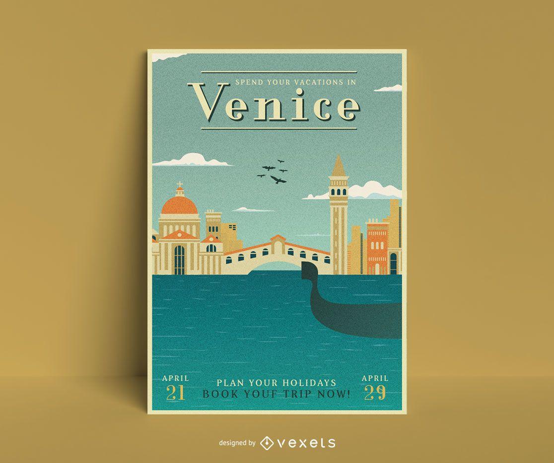 Plantilla de cartel de viaje a venecia