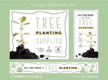 Conjunto de banner publicitario de plantación de árboles