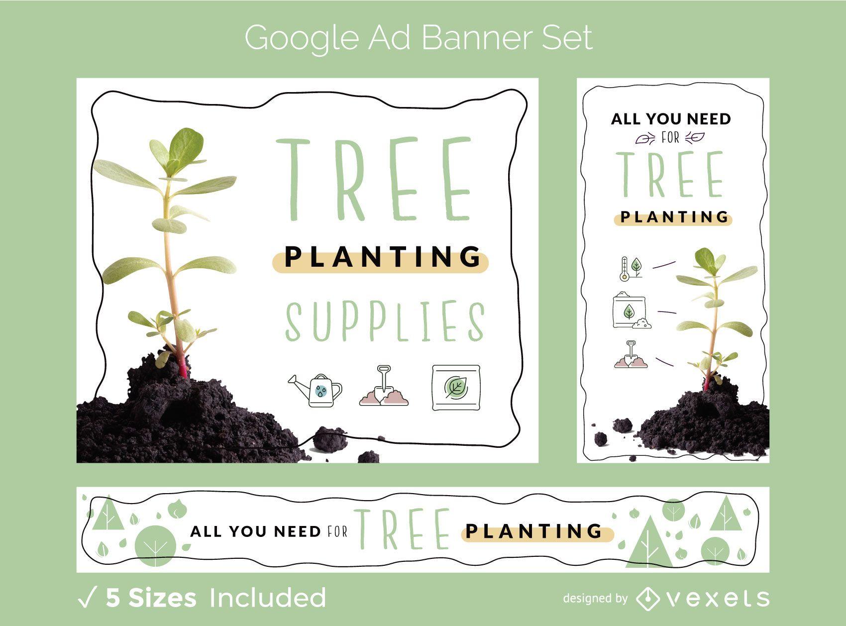 Tree planting ad banner set