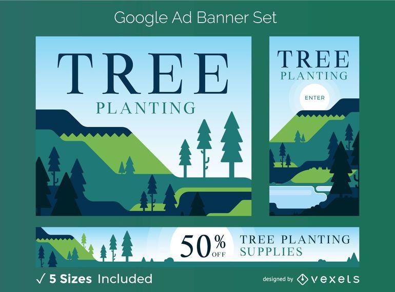 Conjunto de banner de anuncios de google de plantación de árboles