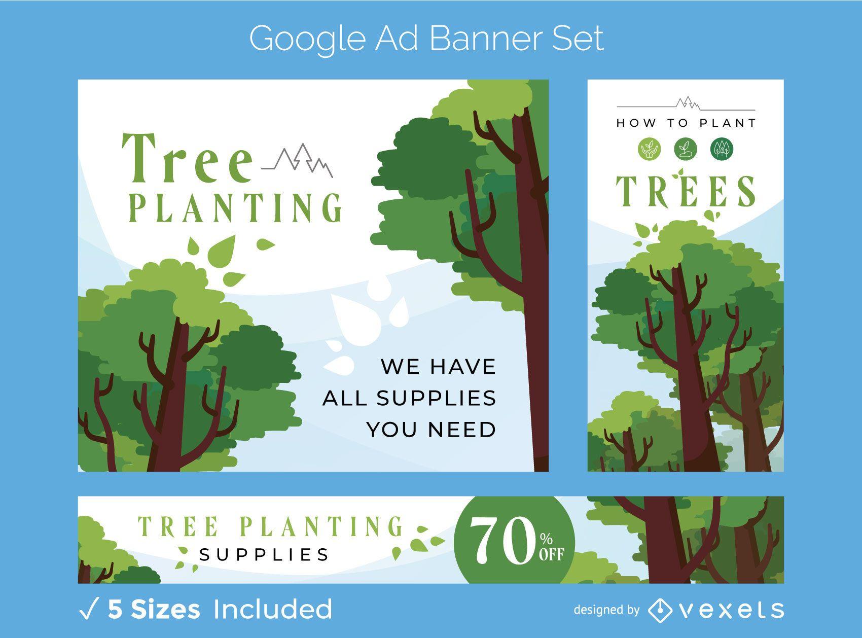 Conjunto de banners de anúncios de plantio de árvores