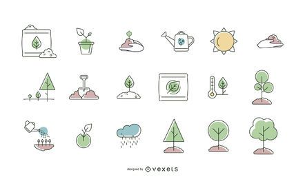 Coleção de linha de ícone de plantio de árvores