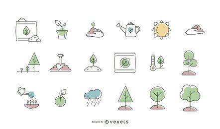Colección de línea de iconos de plantación de árboles