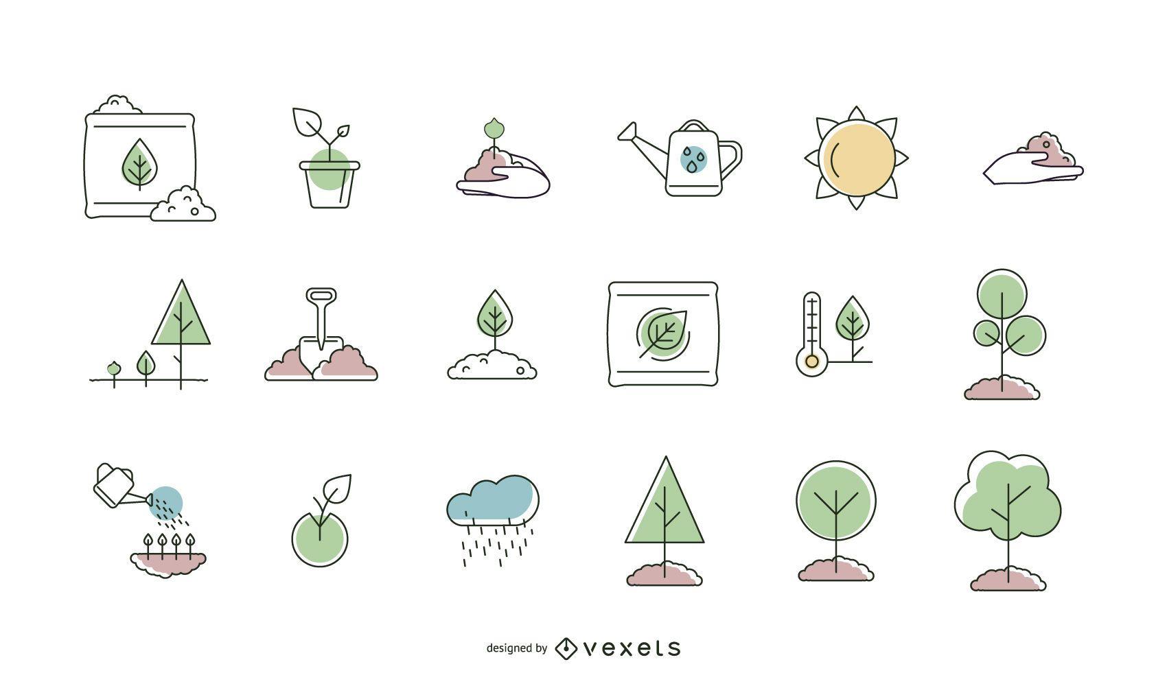 Coleção de linhas de ícones de plantio de árvores