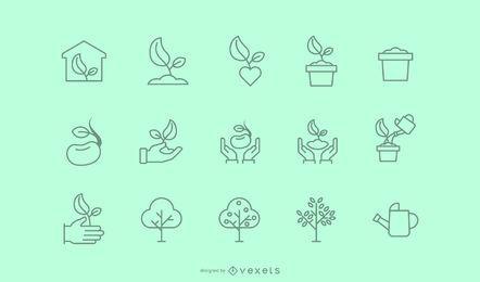 Coleção de ícones de traços de plantio de árvores