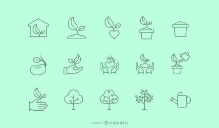 Tree planting stroke icon collection