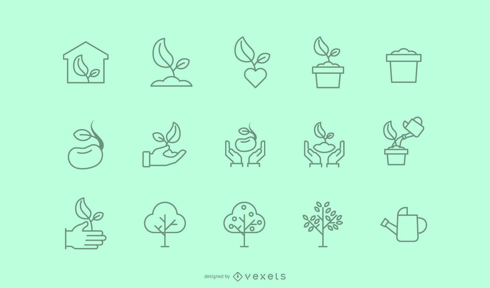 Colección de iconos de trazo de plantación de árboles