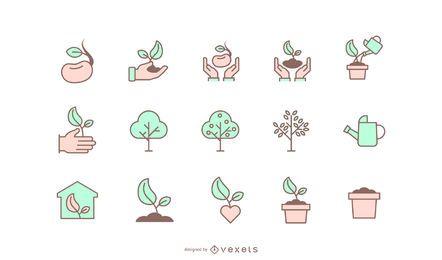 Coleção de ícones de plantio de árvores