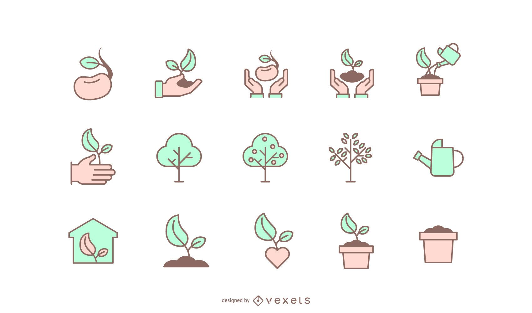 Tree planting icon collection