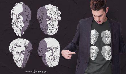 Diseño de camiseta de filósofos estoicos