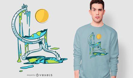 Geschmolzenes Globus-T-Shirt Design