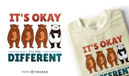 Diseño de camiseta de cita de diferentes osos