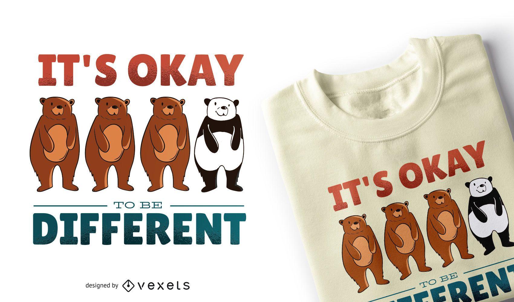 Diseño de camiseta con cita de diferentes osos