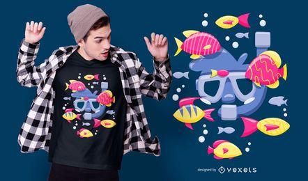 Design de camisetas de peixes para mergulho com snorkel