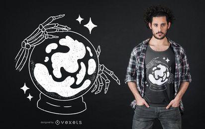 Design de camiseta com esqueleto bola de cristal